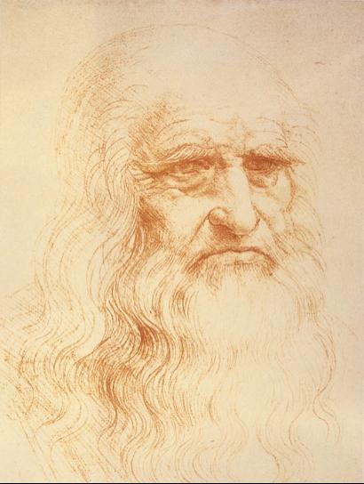 Description : Léonard de Vinci (1452 – 1519) Autoportrait. Sanguine. H. 0,332 ; L. 0,212. Turin, Biblioteca Reale.